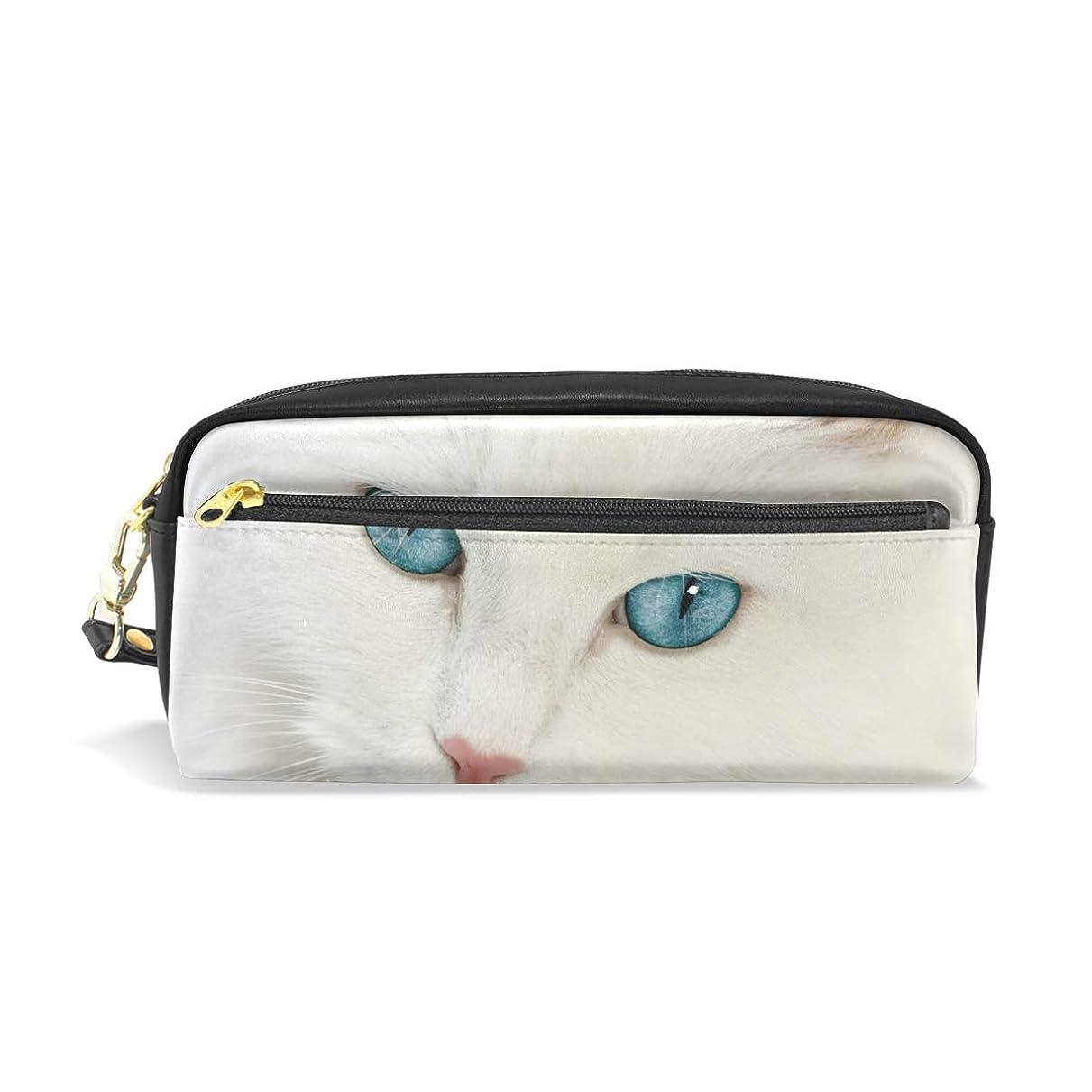 ヒューバートハドソンパシフィック読み書きのできないAOMOKI ペンケース 小物入り 多機能バッグ ペンポーチ 化粧ポーチ おしゃれ かわいい 男女兼用 ギフト プレゼント 白猫 猫柄 可愛い猫