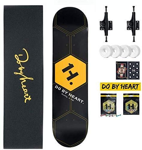 NMDD 31 Zoll Skateboard Shortboard Longboard Cruiser Double Kick konkaven Trick Skateboard für Extremsportarten Freeride Geschenk für Erwachsene Jugendliche Kinder