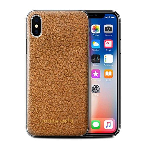Stuff4 Personalizzato Effetto Pelle Personalizzare Custodia/Cover per Apple iPhone XS/Timbro Marrone Cacao Design/Iniziale/Nome/Testo Caso/Cassa
