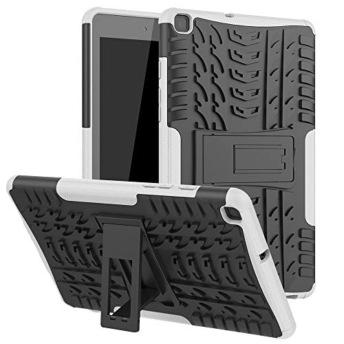 ZHIWEI Tablet PC Bag Coperchio Tablet per Samsung Galaxy Tab A 8.0 2019   T290   T295 Texture di Pneumatici TPU Antiurto TPU + Custodia Protettiva con Manico Pieghevole (Color : White)