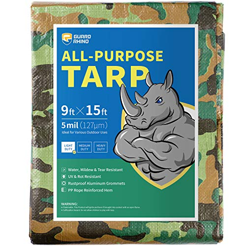GUARD RHINO Camouflage Tarp 9x15 Feet Multi Purpose Waterproof Poly Tarp Cover 5mil