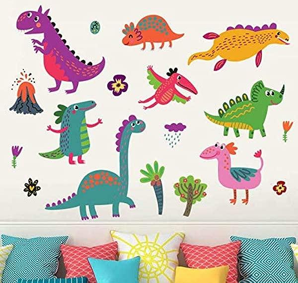 AIYANG Dinosaur Wall Decals Dino Wall Stickers For Boys Girls Bedroom Playroom Cartoon Design