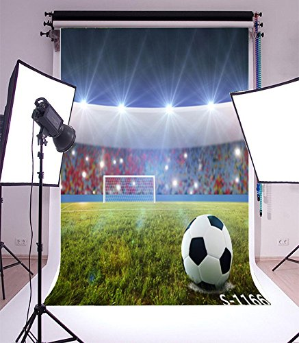 Laeacco 3x5ft Vinyl Photography Backdrop Football Field Green Playground Soccer Field Backdrop Match Pitch Lighting Children Kids Boys Adults Portraits Photo Background Studio Props