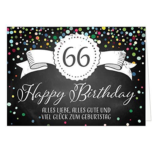 Große Glückwunschkarte XXL (A4) zum 66. Geburtstag - Tafel-Look Konfetti/mit Umschlag/Edle Design Klappkarte/Glückwunsch/Happy Birthday Geburtstagskarte/Extra Groß/Edle Maxi Gruß-Karte