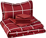AmazonBasics 5-Piece Light-Weight Microfiber Bed-In-A-Bag Comforter Bedding Set - Twin or Twin XL, Burgundy Simple Plaid