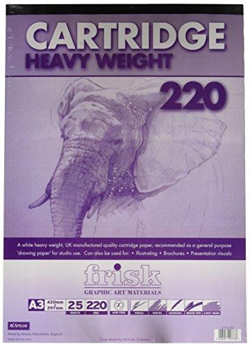 Frisk 23122263 - Blocco di carta da disegno, 220 g/mq, formato A3, 25 fogli, bianca