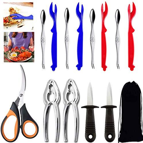 Kitdine 13 PCS Seafood Tools Set Includes 2 Crab Crackers, 4 Lobster Shellers, 4 Crab Leg Forks,2 Stainless Steel Oyster Knife,1 Seafood Scissors & Storage Bag - Nut Cracker Set