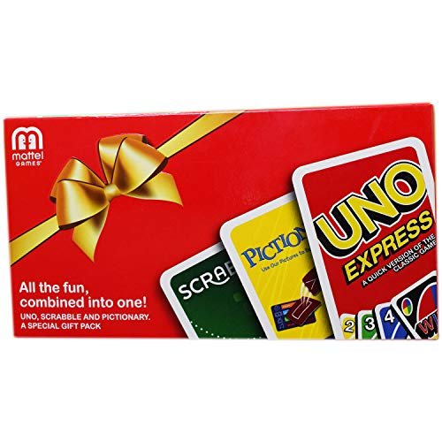 Myesha Toys Cards Gift Pack - Uno Express, Pictionary and Scarbble Card Games - All in One, Pack of 3