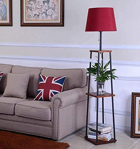 Lámpara De Pie Estante para Macetas Estante Dormitorio Sala De Estar Simple Moderno Creativo Lámpara De Pie Lámpara De Mesa Lámpara De Mesa Fácil De Limpiar Luz De Decoración (Color: Rojo)