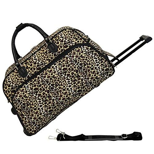 World Traveler 21-Inch Carry-On Rolling Duffel Bag, Leopard