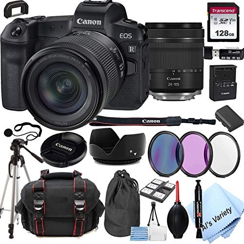 Canon EOS R Mirrorless Digital Camera with 24-105mm f/4-7.1 Lens Bundle + 128GB Memory + Case + Filters + Tripod (24pc Bundle)