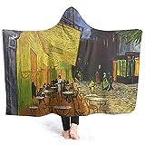 Henry Anthony Van Goghnachtcafé Gewohnheit Hoodie Blanket Coral Plüsch Ultra Soft Plüsch Freizeitbekleidung mit Kapuze Werfen Wrap