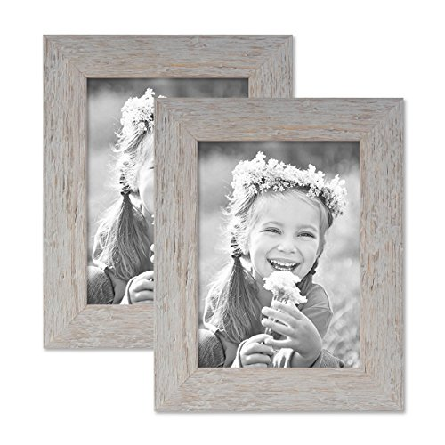 PHOTOLINI 2er Bilderrahmen-Set 13x18 cm Strandhaus Grau Rustikal Massivholz mit Glasscheibe inkl. Zubehör/Fotorahmen