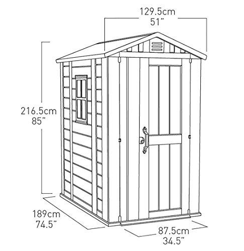 Keter Factor Outdoor Plastic Garden Storage Shed, Beige, 4 x 6 ft Regular Stores