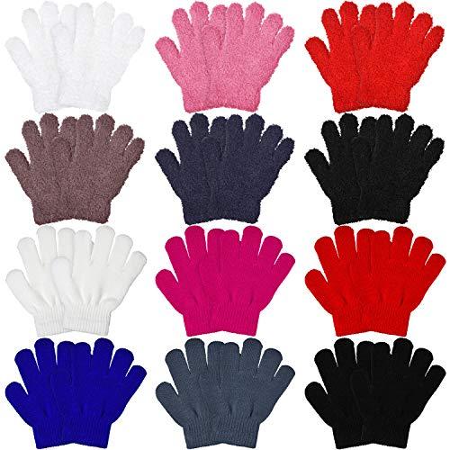 Syhood 12 Paar Kinder Handschuhe Stretch Vollfinger Handschuhe Winter Warm Gestrickte Unisex Kinderhandschuhe für Jungen und Mädchen