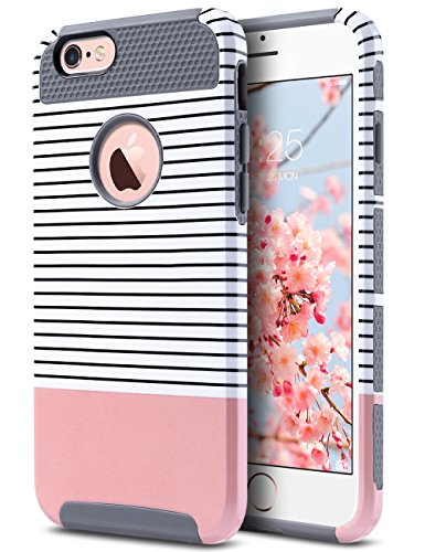 ULAK Cover per iPhone 6s, iPhone 6 Cover con Design Slim con Doppio Strato di Protezione Anti collisioni in Silicone per Apple iPhone 6S / iPhone 6 (4.7 Pollici), Stripes + Grigio