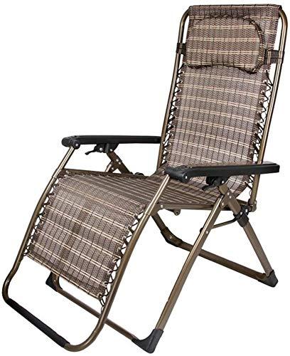 Lhak Sillón reclinable al Aire Libre Colchonetas, sillas portátiles, Cojines, Patio Interior y Exterior terraza en el jardín, sillas Plegables de Cubierta (Color : A)