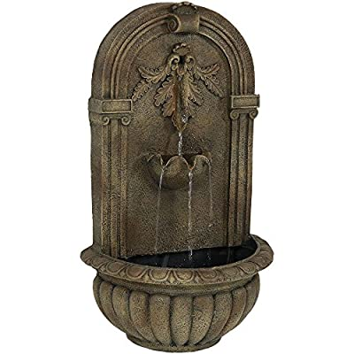 Sunnydaze Florence Outdoor Wall Water Fountain - Waterfall Wall Mounted Fountain & Backyard Water Feature with Electric Submersible Pump - Florentine Stone Finish - 27 Inch