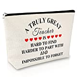 Thank You Gift for Teacher Makeup Bag Appreciation Gift for Women Funny Birthday Gift for Teacher from Student Travel Cosmetic Pouch Thanksgiving Christmas Gift