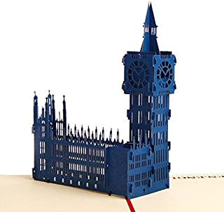 Creative 3D Greeting Card Handmade Paper Carved Hollow Birthday Architecture Big Ben Dark Blue