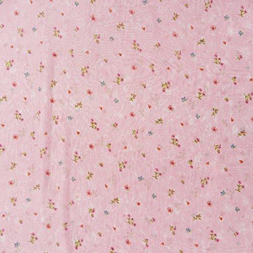 Gardinenstoff Voile Meterware rosa Lillifee Lillieblum Blumen Schmetterlinge Herzen H:3m