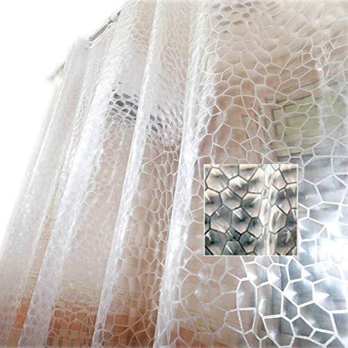 Fangkun Duschvorhang-Dekor-Set – 3D visuelles Wasserwürfel-Design – EVA Wasserdach-Badevorhänge – 12 Stück Duschhaken – 183 x 183 cm