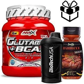 Amix Glutamine + BCAA 530 gr – frutas del bosque + Mezclador y Salsa BBQ