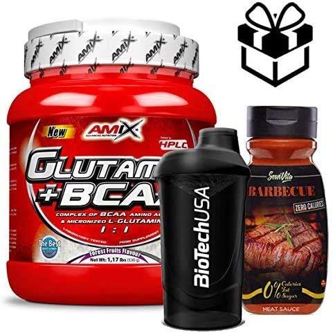 Amix Glutamine + BCAA 530 gr - frutas del bosque + Mezclador y Salsa BBQ
