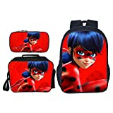 Mochila Infantil De Dibujos Animados 3D Ladybug Reddy Girl Impreso Computer Bag, Mochila + Messenger Bag + Pencil Bag Set D-16 Inches