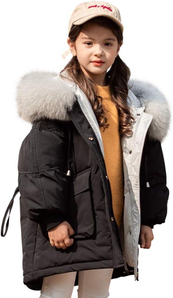 Kids Down Jacket Girl's Down Jacket Hooded Warm Winter Coat Thicken Puffer Jacket Outwear Fashionable Winter Jacket Down Coats (Color : Black150)