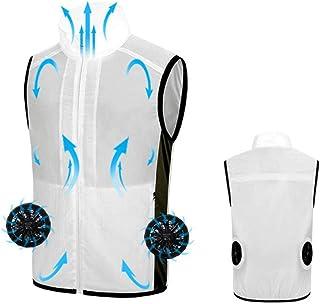 MNSSRN-MM Collar del Soporte del Ventilador de refrigeración del Chaleco, Verano Smart Cooling, Delgado y cómodo Traje Aire Acondicionado, Resistente a Altas temperaturas Chaleco,Blanco,2XL
