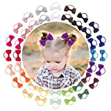 """VINOBOW 40Piece 2"""" Baby Hair Ties Elastic Bows Ponytial Hair Barrettes For Babies Girls Toddlers"""