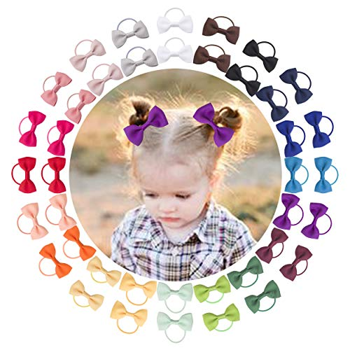 "VINOBOW 40Piece 2"" Baby Hair Ties Elastic Bows Ponytial Hair Barrettes For Babies Girls Toddlers"