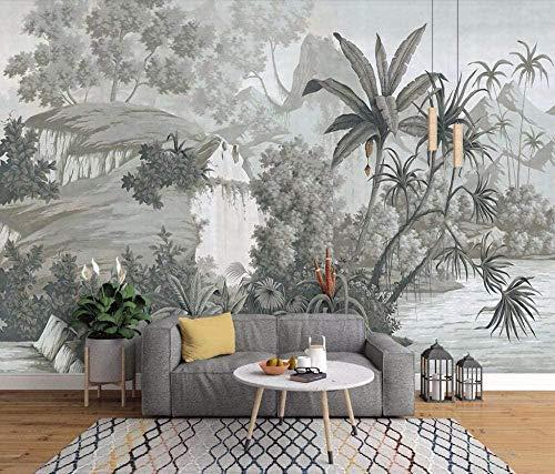 Retro europeo nostálgico pintado a mano selva tropical banana palm palm sofá TV mural fondo de pantalla mural fotográfico-400x280cm