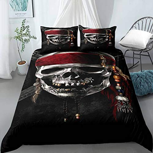 QXbecky Halloween Grim Reaper Skull Love Bedding Quilt Cover Pillowcase 3-Piece Set 3D Digital European and American Printing