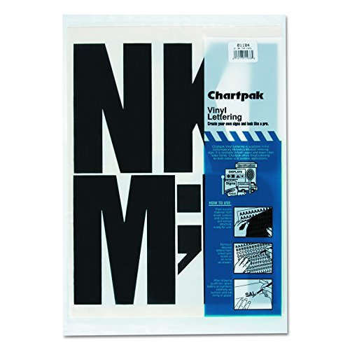 Chartpak 01184 Press-On Vinyl Uppercase Letters, 6 High, Black