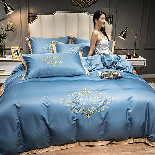 Juegos De SáBanas 150,Ropa de cama de bordado de seda, diapositiva suave Absorbente de seda antiestático Down Quilt Set y cama extra grande Cinturón de una sola cinta de funda de almohada, regalo del