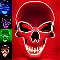 Red Halloween Mask with LED Light up Costumes
