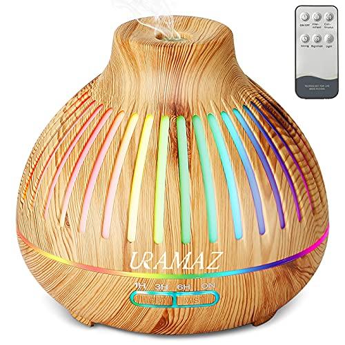 Aroma Diffuser Luftbefeuchter, Ultraschall Duftöl Diffuser für ätherische öle, 400ml Duftöldiffusoren Raumbefeuchter, Aromatherapie Diffusor mit kühler Nebel 4 Timer & 15 Farblicht für Zuhause Büro