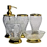 Edinburgh Collection Natural Crackle 5 Piece Bathroom Accessory Set Hand Crafted Set Includes Soap & Lotion Dispenser Tooth Brush Holder Gargle Tooth-Brushing Tumbler Soap Dish Canister