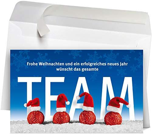 50 Premium Weihnachtskarten incl.Umschläge Motiv:Team WK17216, hochwertige Klappkarten im Set, Format 12x19cm perfekt für Firmen, Gewerbe, Dienstleistung und Geschäfts-Partner