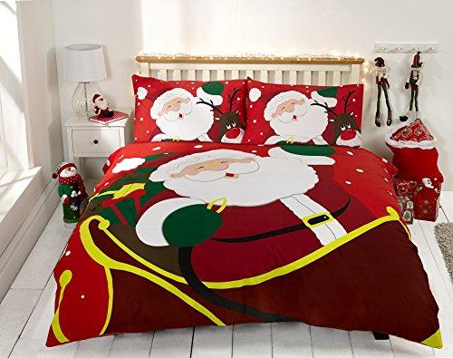 Set copripiumino e coppia di federe con Babbo Natale e Rudolph la renna, realizzato al 100% in cotone, per letti matrimoniali