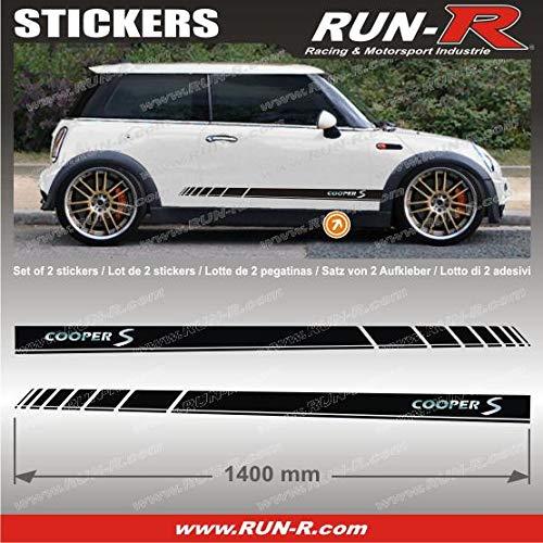 ADNAuto 09763 2 Stickers Mini Coopers S 140 cm-Noir Lettres Chromes