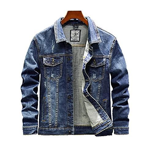 Zerrissene Jeansjacke Herren - Loose Trucker Cowboy Tops Coat, Farbverlauf Vintage Western Style Jean Outwear, Button Down Mit Taschen Waschen Für Den Herbst Langarm M - 4XL,Blau,XXXXL