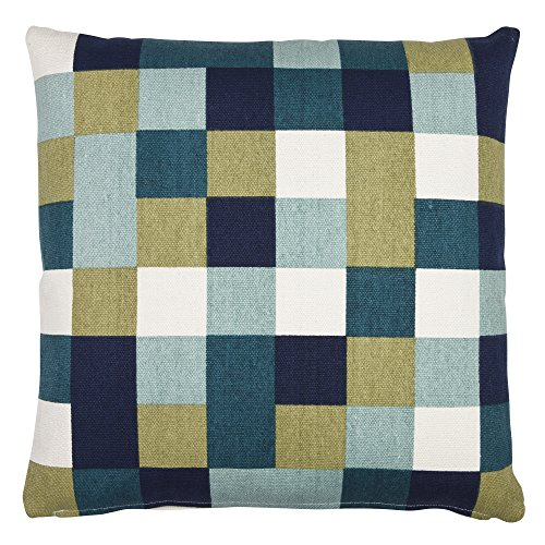 Eightmood Coussin Motif à Carreaux Bleu/Blanc
