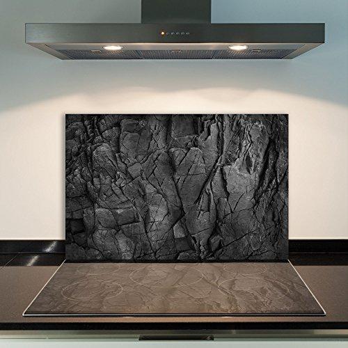 DAMU | Ceranfeldabdeckung 1 Teilig 80x52 cm Herdabdeckplatten aus Glas Abstraktion Schwarz Elektroherd Induktion Herdschutz Spritzschutz Glasplatte Schneidebrett