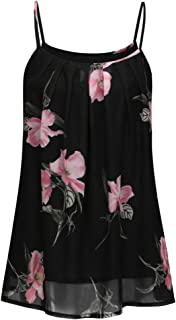 Tank Tops for Women Spaghetti Straps Summer Plus Size Loose Fit Floral Print Sleeveless Casual Vest Blouse Tops ODGear