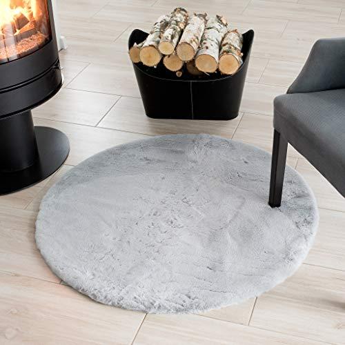 Tapiso Dolly Teppich Shaggy Rund Hochflor Weich Langflor Grau Modern Plaid Sofa Decke Kaninchenfell Optik Wohnzimmer Schlafzimmer 100 x 100 cm
