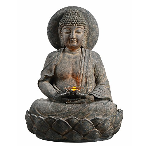 Peaktop 201607PT Outdoor Indoor Floor Buddha Zen Statue Water Fountain with LED Light and Pump for Patio Garden Backyard Decking, 28', Gray