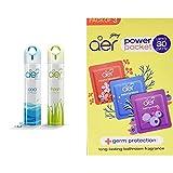 Godrej aer pocket, Bathroom Air Fragrance - Assorted Pack of 5 (5x10g) & aer - 8901023018381 aer twist, Car Air Freshener - Sunny Citrus Blast (45g), Yellow